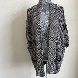 Splendid XS chunky Knit Black Tan Open Cardigan